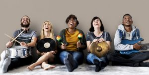 Diverse people with music instruments